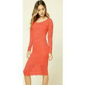 Coral lace 2 piece outfit Midi skirt and top